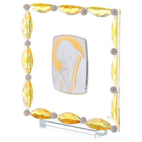 Cuadrito con cristales ámbar y lámina plata Cristo 20x15 2