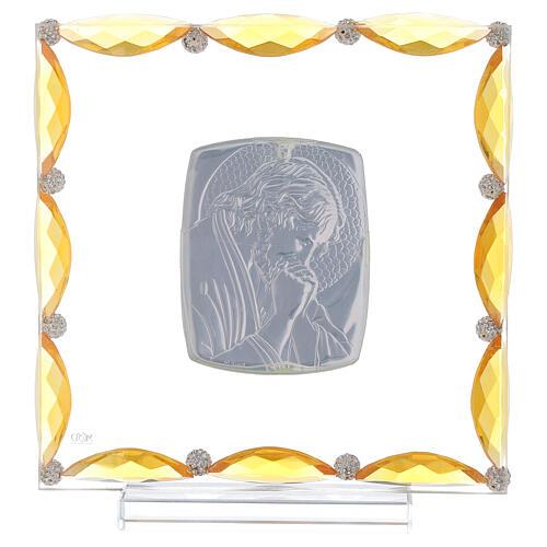 Cuadrito con cristales ámbar y lámina plata Cristo 20x15 3