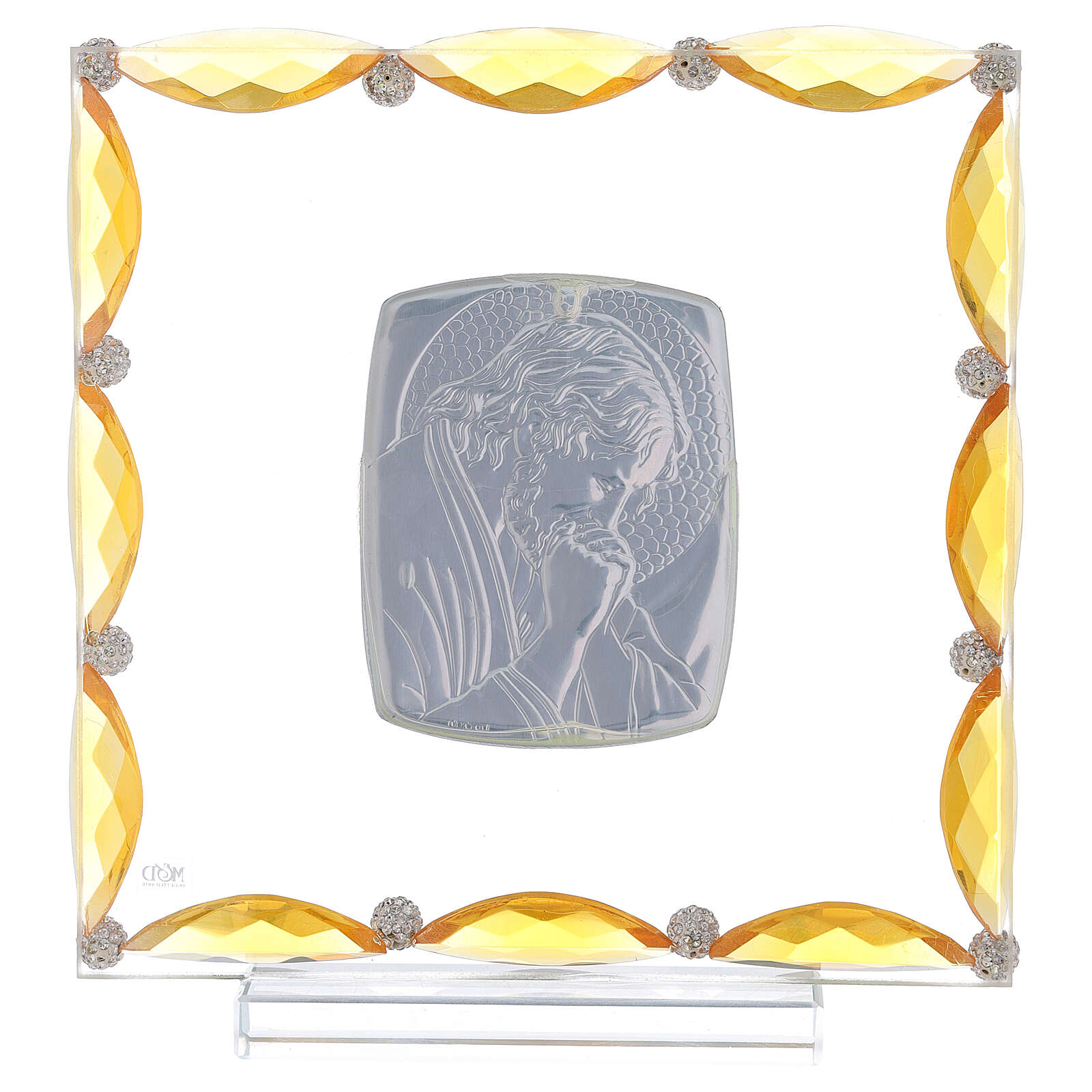 Quadretto con cristalli ambra e lamina argento Cristo 20x15 3