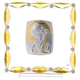 Quadretto con cristalli ambra e lamina argento Cristo 20x15 s1