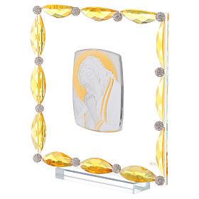 Quadretto con cristalli ambra e lamina argento Cristo 20x15 s2
