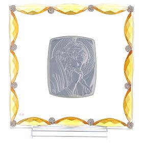 Quadretto con cristalli ambra e lamina argento Cristo 20x15 s3