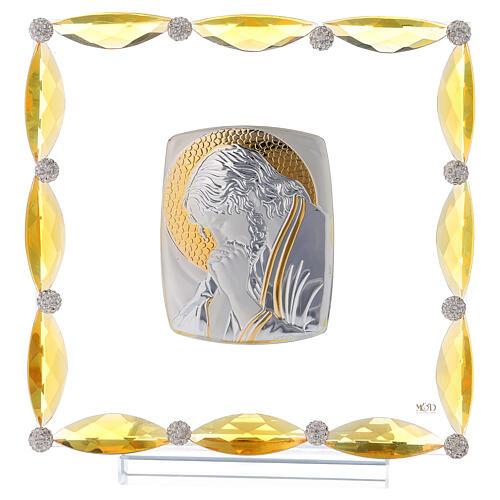 Quadretto con cristalli ambra e lamina argento Cristo 20x15 1