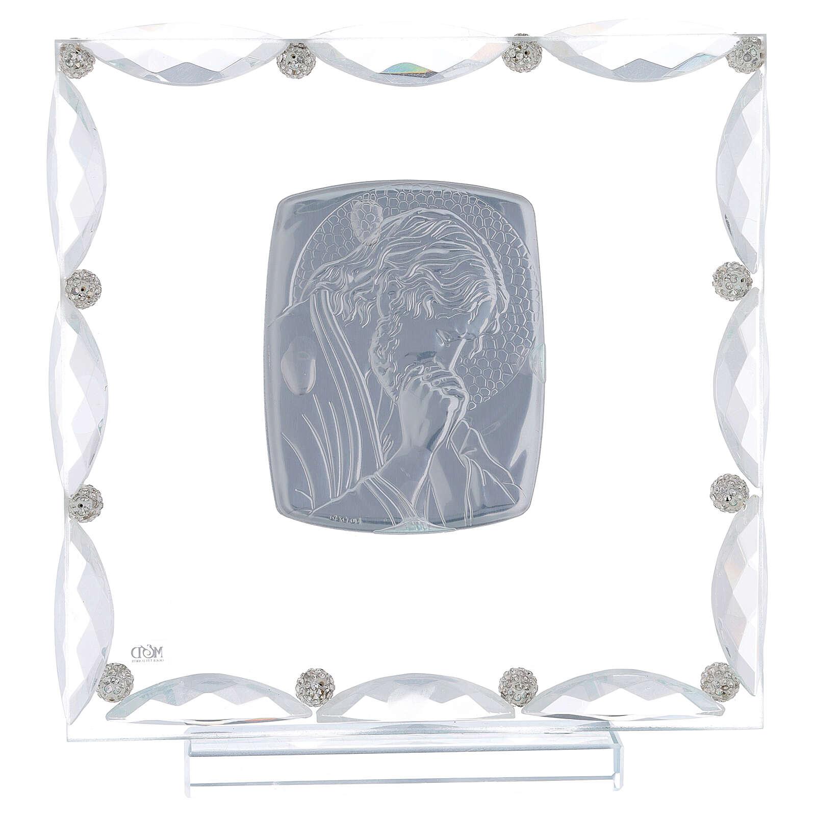 Cadre avec cristaux transparents et feuille argent Christ 20x15 cm 3