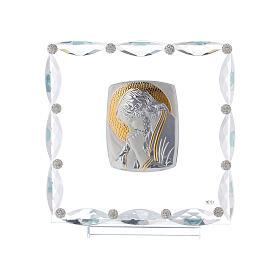 Quadretto con cristalli trasparenti e lamina argento Cristo 20x15 s1