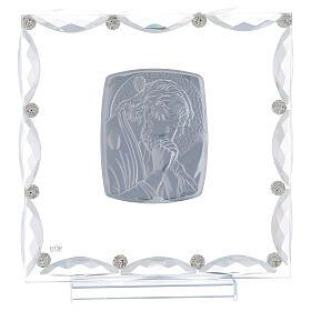 Quadretto con cristalli trasparenti e lamina argento Cristo 20x15 s3