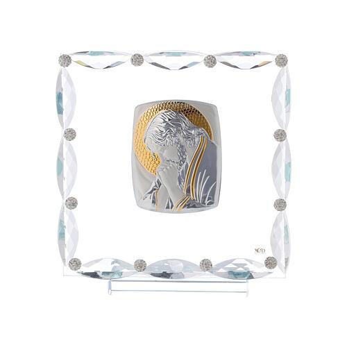 Quadretto con cristalli trasparenti e lamina argento Cristo 20x15 1