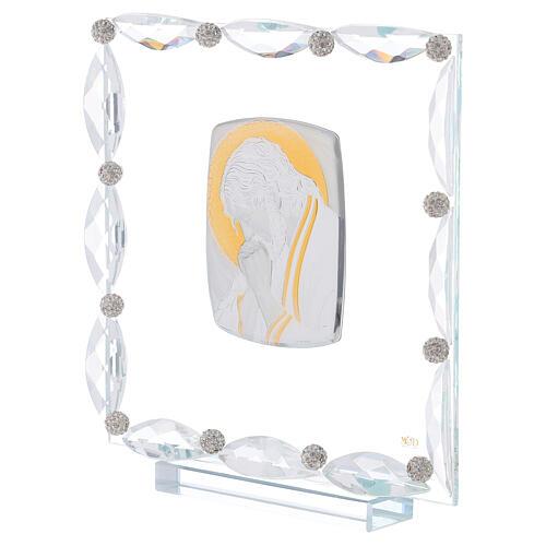 Quadretto con cristalli trasparenti e lamina argento Cristo 20x15 2