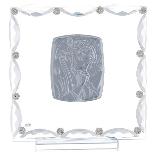 Quadretto con cristalli trasparenti e lamina argento Cristo 20x15 3