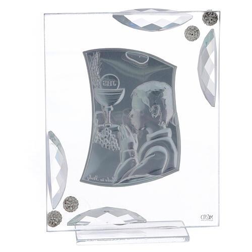 Cuadrito Comunión niño bilaminado cristales blancos 15x10 cm 3
