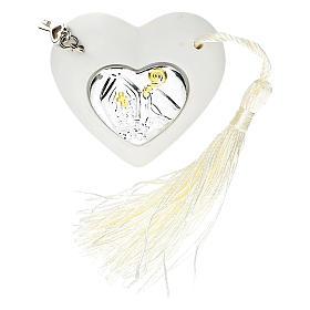 Bonbonnière coeur Confirmation couleur argent 5 cm s1