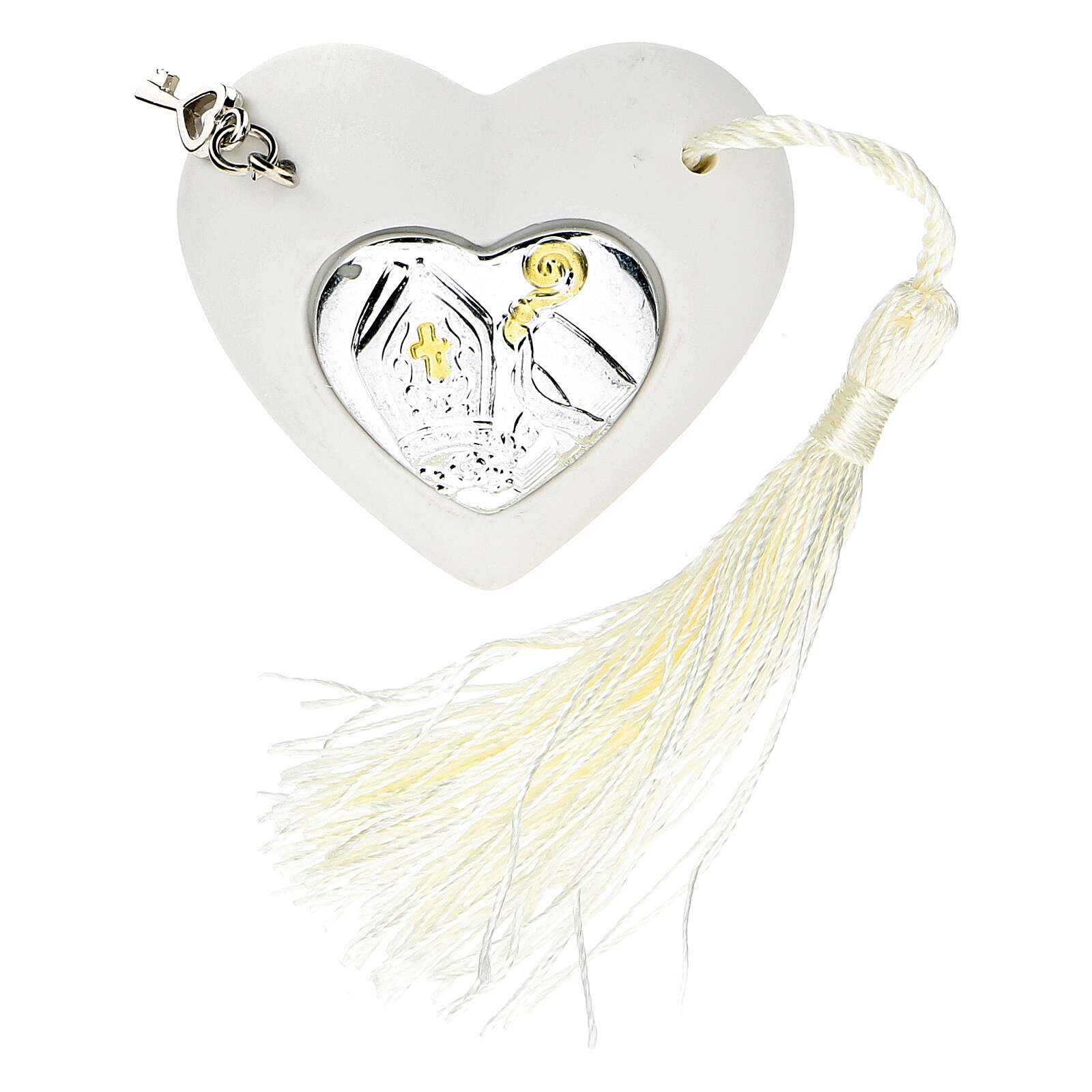 Heart Confirmation ornament silver-colored 2 in 3