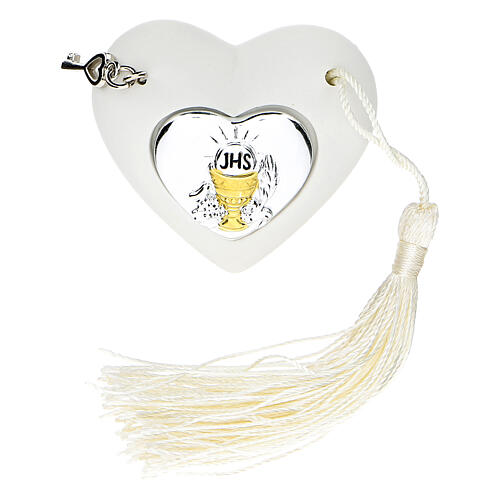 Heart Holy Communion ornament silver-colored 2 in 1