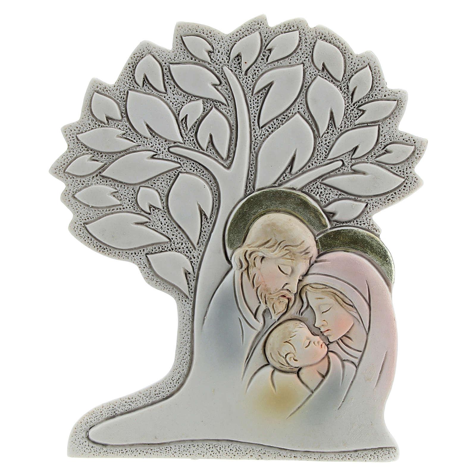 Icono con árbol y sagrada familia resina 9 cm 3
