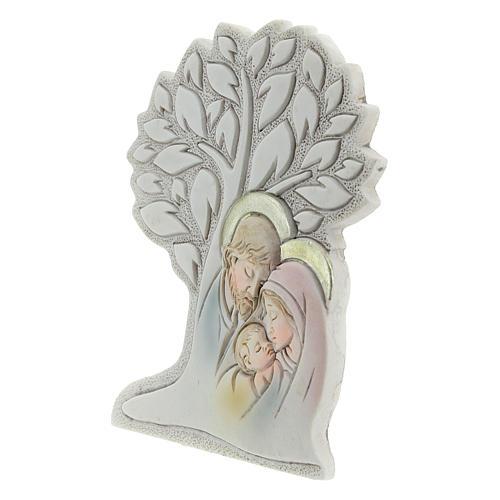 Icono con árbol y sagrada familia resina 9 cm 2