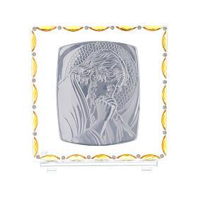 Christ en prière cadre argent feuille 30x30 cm s3