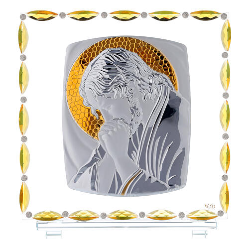 Christ en prière cadre argent feuille 30x30 cm 1