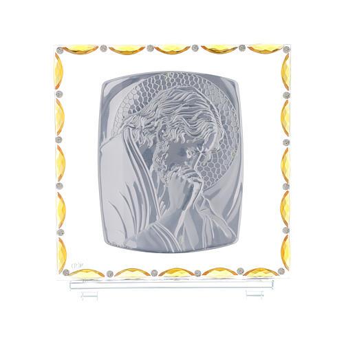 Christ en prière cadre argent feuille 30x30 cm 3