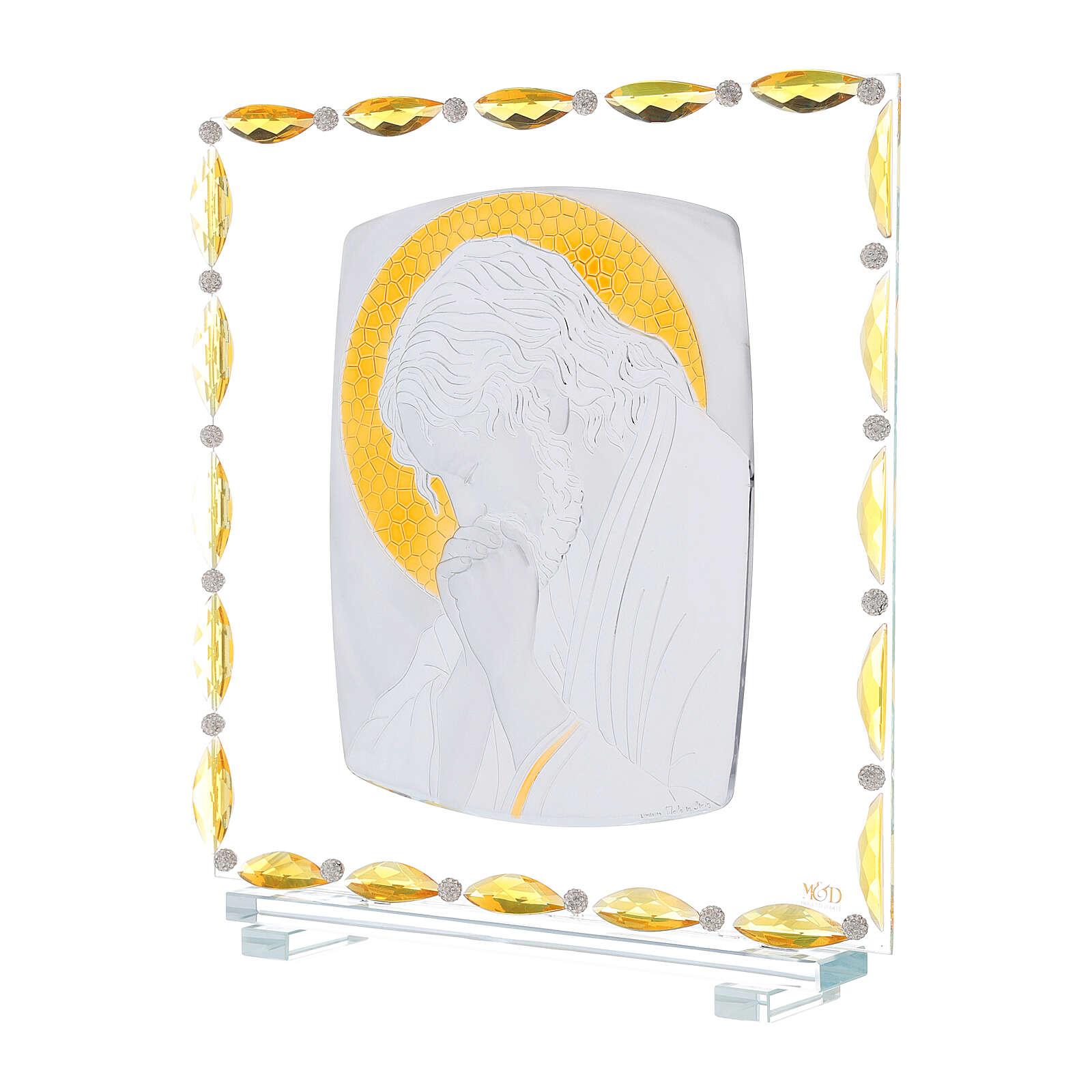 Cristo in preghiera quadretto argento laminato 30x30 cm 3