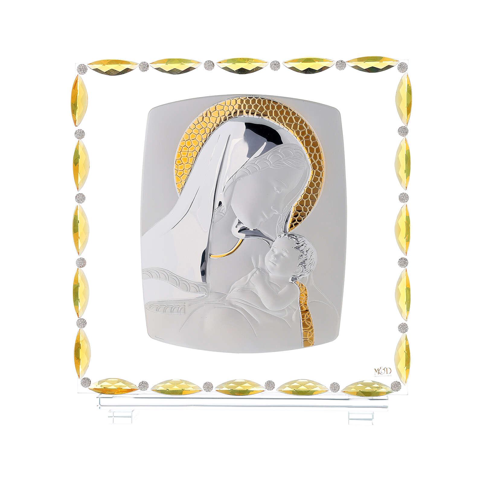 Virgen con niño lámina plata vidrio y cristales 30x30 cm 3