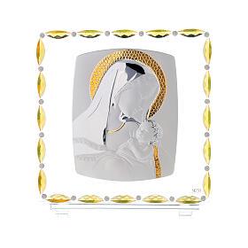 Virgen con niño lámina plata vidrio y cristales 30x30 cm s1