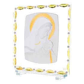 Virgen con niño lámina plata vidrio y cristales 30x30 cm s2