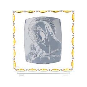 Virgen con niño lámina plata vidrio y cristales 30x30 cm s3