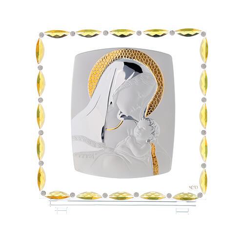 Virgen con niño lámina plata vidrio y cristales 30x30 cm 1
