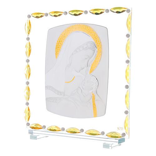 Virgen con niño lámina plata vidrio y cristales 30x30 cm 2