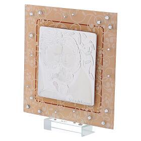 Cadre argent bilaminé verre Murano Sainte Famille ambre 12x12 cm s2