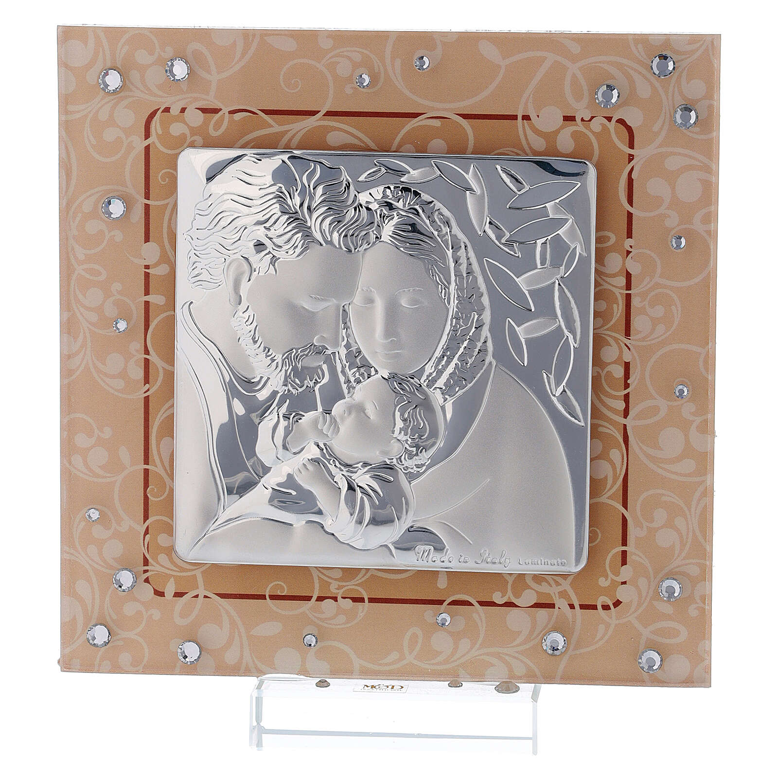 Quadretto bilaminato vetro Murano Sacra Famiglia ambra 12x12 cm 3