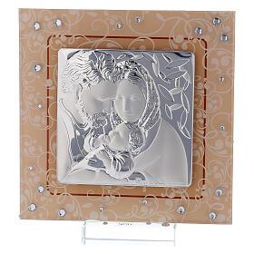 Quadretto bilaminato vetro Murano Sacra Famiglia ambra 12x12 cm s1