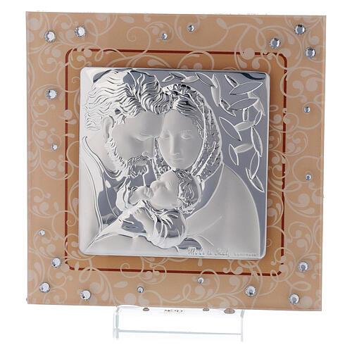 Quadretto bilaminato vetro Murano Sacra Famiglia ambra 12x12 cm 1
