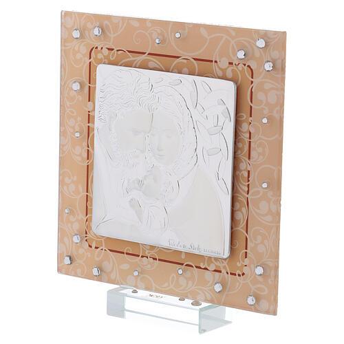 Quadretto bilaminato vetro Murano Sacra Famiglia ambra 12x12 cm 2
