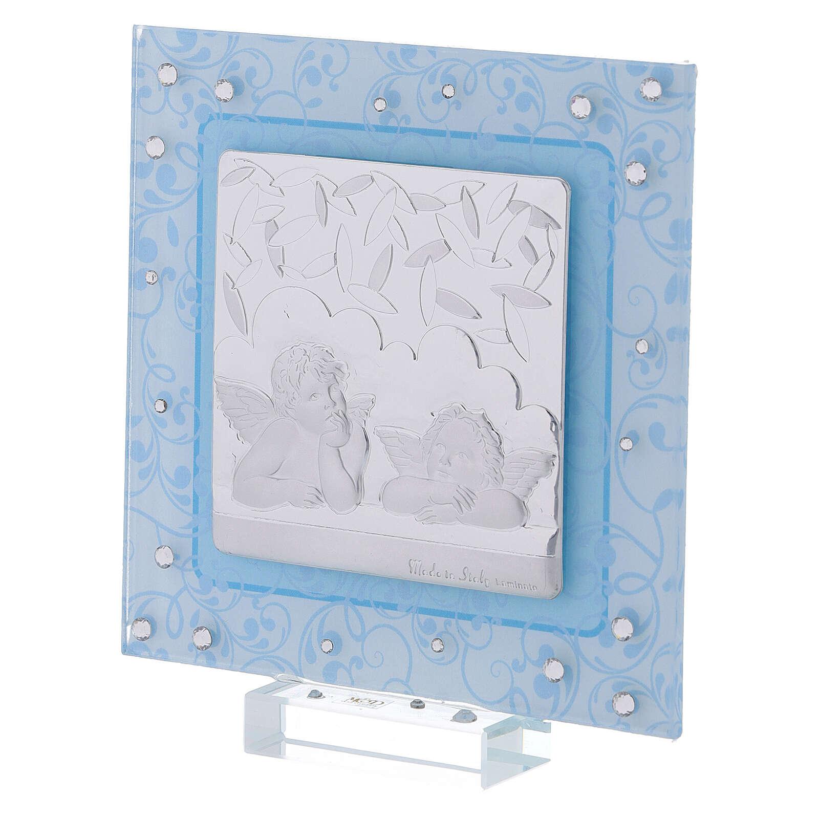 Cuadrito Bautismo ángeles de Rafael celeste 12x12 cm 3