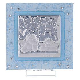Cuadrito Bautismo ángeles de Rafael celeste 12x12 cm s1