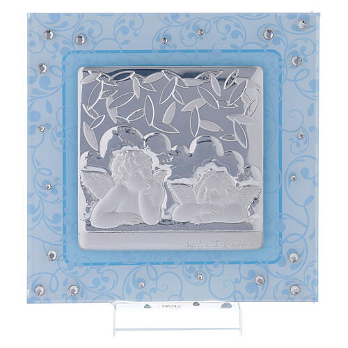Cuadrito Bautismo ángeles de Rafael celeste 12x12 cm 1