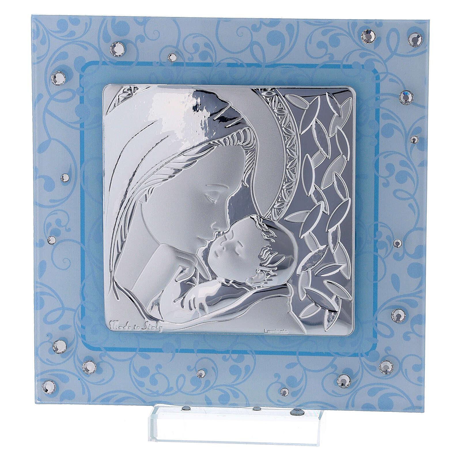 Cuadrito Maternidad bilaminado y vidrio de Murano 12x12 cm 3