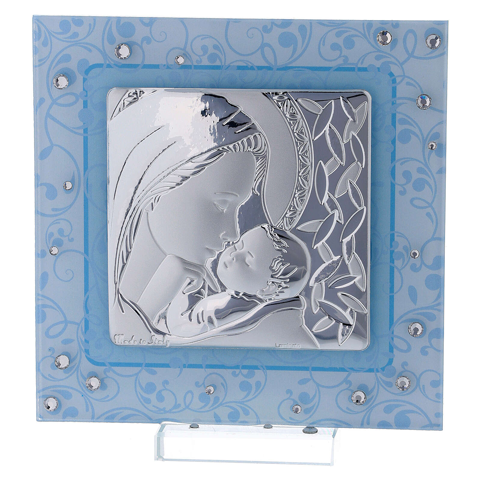 Cadre Maternité argent bilaminé et verre de Murano 12x12 cm 3