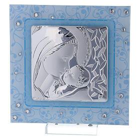 Cadre Maternité argent bilaminé et verre de Murano 12x12 cm s1