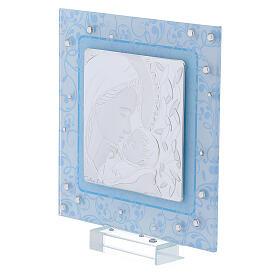 Cadre Maternité argent bilaminé et verre de Murano 12x12 cm s2