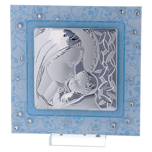 Cadre Maternité argent bilaminé et verre de Murano 12x12 cm 1