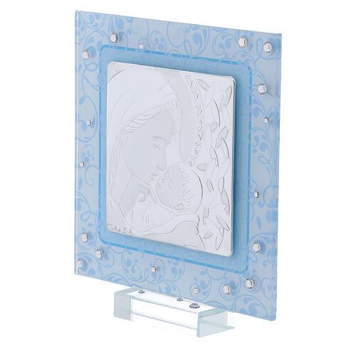Cadre Maternité argent bilaminé et verre de Murano 12x12 cm 2