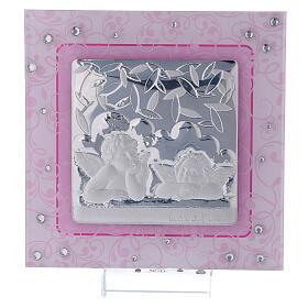 Cadre anges Raphaël rose argent bilaminé verre Murano 12x12 cm s1