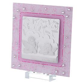 Cadre anges Raphaël rose argent bilaminé verre Murano 12x12 cm s2