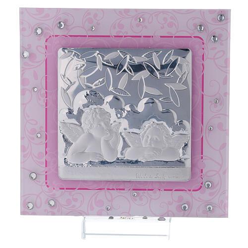 Cadre anges Raphaël rose argent bilaminé verre Murano 12x12 cm 1