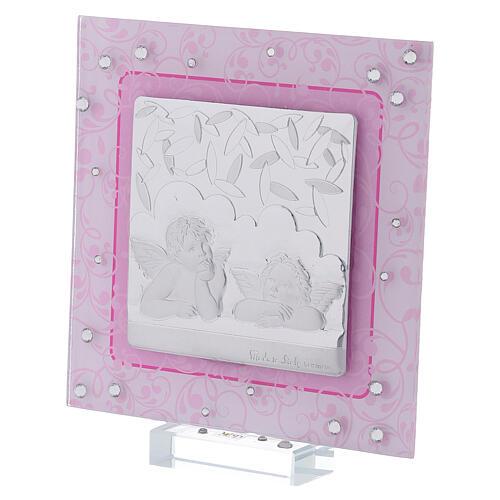 Cadre anges Raphaël rose argent bilaminé verre Murano 12x12 cm 2