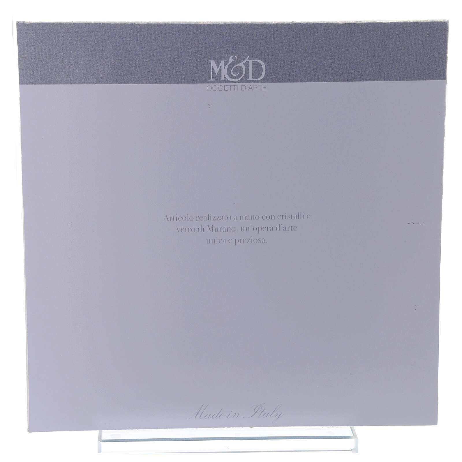 Cuadrito Sagrada Familia bilaminado vidrio Murano ámbar 17x17 cm 3