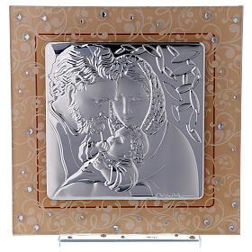 Quadretto Sacra Famiglia bilaminato vetro Murano ambra 17x17 cm s1