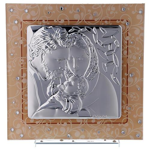 Quadretto Sacra Famiglia bilaminato vetro Murano ambra 17x17 cm 1